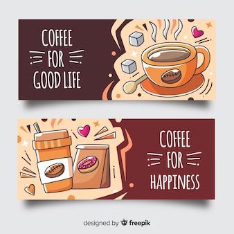 Bandeira de café desenhada de mão