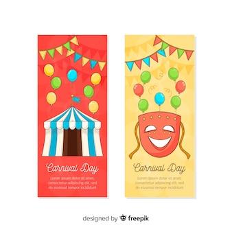 Bandeira de carnaval desenhada de mão