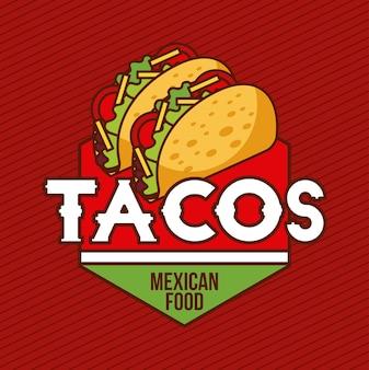 Bandeira de cartões de comida mexicana tacos