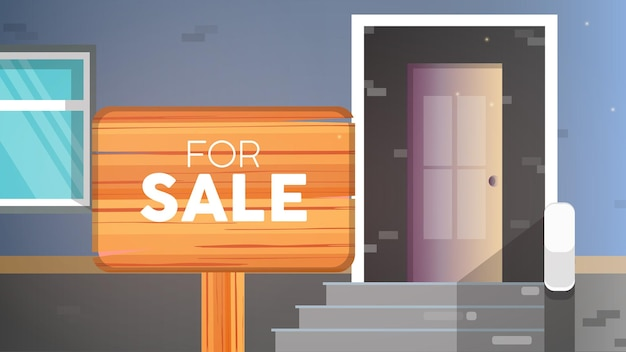 Bandeira de casa à venda. para sinal de venda. conceito de venda de casa e imóveis.