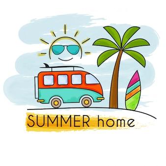 Bandeira de casa de férias de verão em aquarela