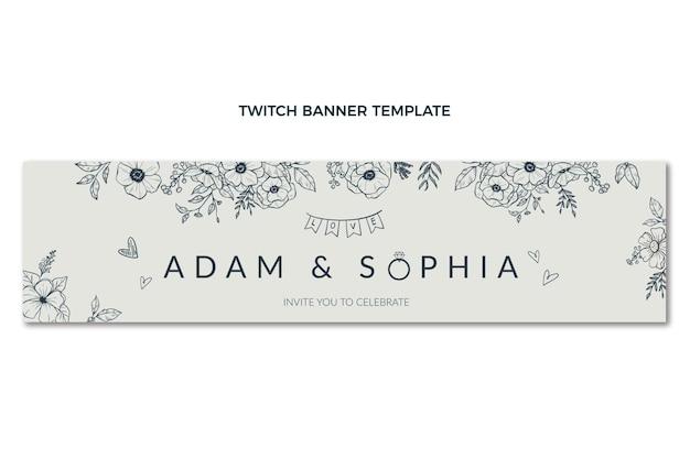Bandeira de casamento desenhada à mão