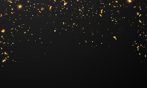 Bandeira de celebração confetes e fitas ouro frame festa banner, evento aniversário modelo de plano de fundo com.