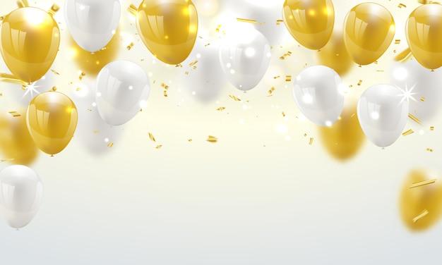 Bandeira de celebração fundo de balões de ouro.