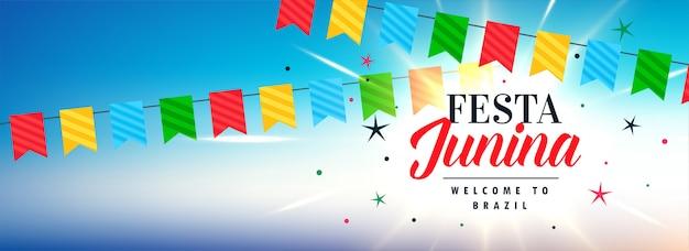 Bandeira de celebração junina festa latino-americana