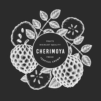Bandeira de cherimoya estilo esboço desenhado de mão. ilustração de frutas frescas orgânicas no quadro de giz. modelo botânico de estilo gravado.