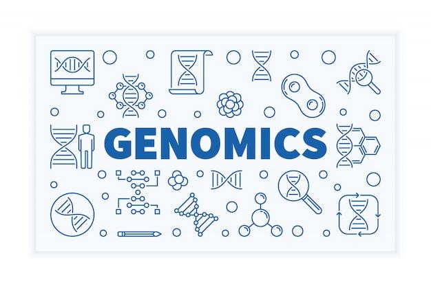 Bandeira de ciência de contorno horizontal de genômica