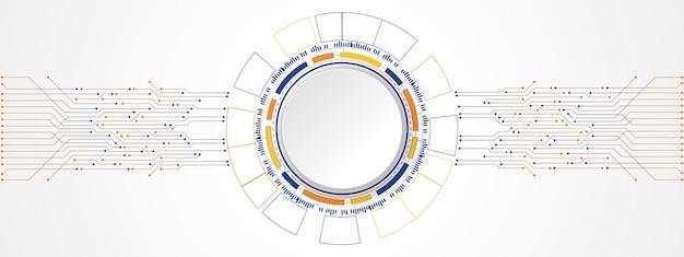 Bandeira de círculo branco de fundo colorido abstrato de tecnologia no círculo digital e na placa de circuito