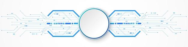 Bandeira de círculo branco de fundo de tecnologia no círculo digital azul e seta da placa de circuito aceleram