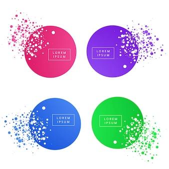 Bandeira de círculo colorido abstrato conjunto vector design