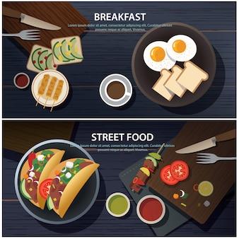 Bandeira de comida de café da manhã e rua