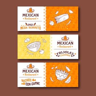 Bandeira de comida mexicana picante mega burritos