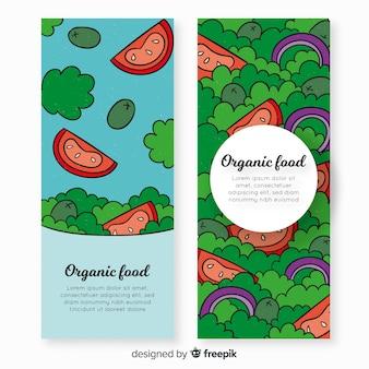 Bandeira de comida orgânica desenhada de mão