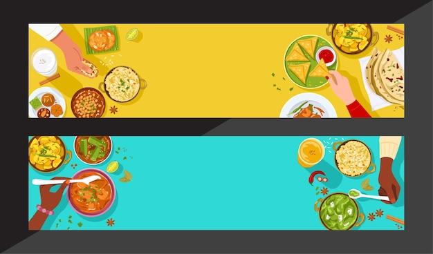 Bandeira de comida, vista superior de pessoas desfrutando de comida indiana juntos.