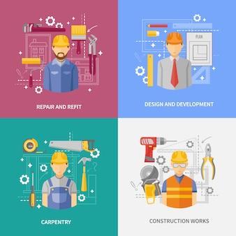 Bandeira de composição quadrada de conceito de trabalho de construção