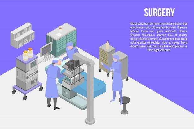 Bandeira de conceito de cirurgia, estilo isométrico