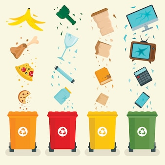 Bandeira de conceito de classificação de lixo