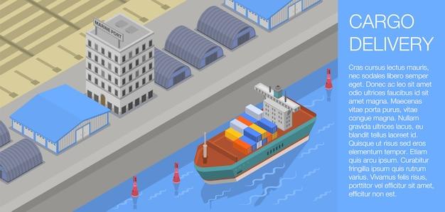 Bandeira de conceito de entrega de carga, estilo isométrico