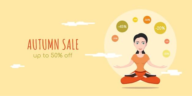 Bandeira de conceito de estilo plano de venda outono. mulher bonita em ioga pose personagem sacudindo com sinais de desconto.