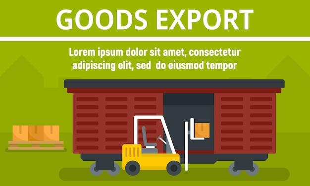Bandeira de conceito de exportação de mercadorias de vagão