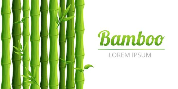 Bandeira de conceito de floresta de bambu, estilo cartoon