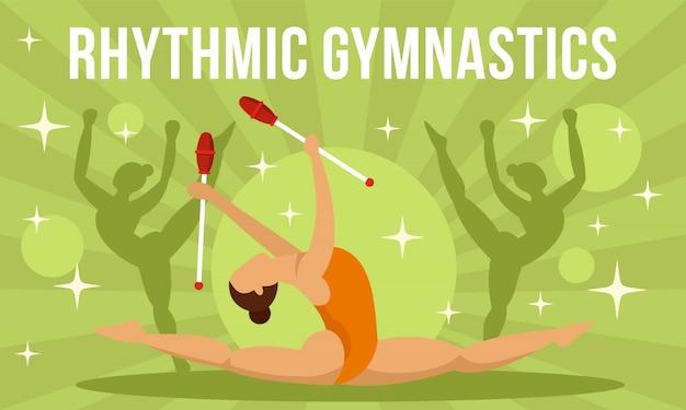 Bandeira de conceito de ginástica rítmica menina