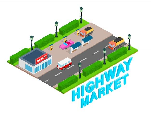 Bandeira de conceito de mercado de estrada, estilo isométrico