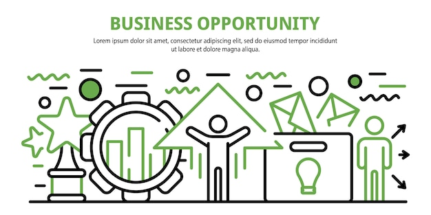 Bandeira de conceito de oportunidade de negócio, estilo cartoon
