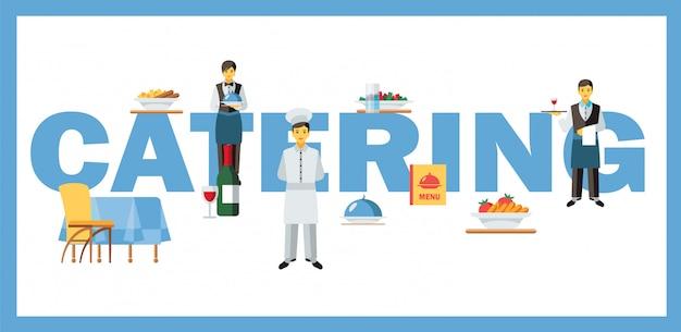 Bandeira de conceito de palavra de serviço de catering