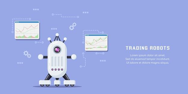 Bandeira de conceito de robôs de negociação. mercado de ações, negociação forex e criptomoeda