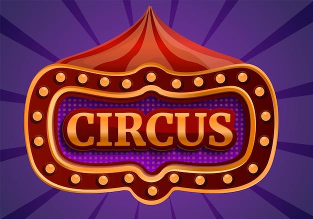 Bandeira de conceito de sinal de circo, estilo cartoon