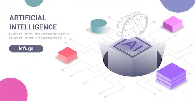 Bandeira de conceito de tecnologia de inteligência artificial