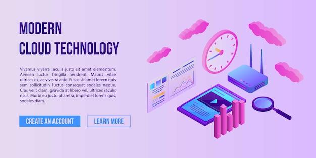 Bandeira de conceito de tecnologia moderna nuvem, estilo isométrico
