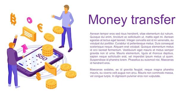 Bandeira de conceito de transferência rápida de dinheiro, estilo isométrico