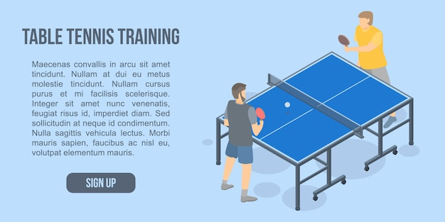 Bandeira de conceito de treinamento de tênis de mesa, estilo isométrico