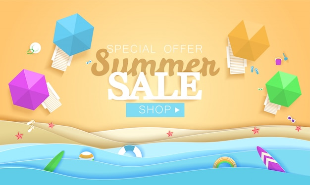 Bandeira de conceito de venda verão. praia tropical em estilo de arte de papel. vista superior papel cortado ilustração. modelo de cartaz de férias de férias de verão. origami de artesanato