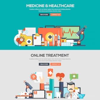 Bandeira de conceito design plano - medicina e saúde