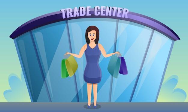Bandeira de conceito loja trade center, estilo cartoon