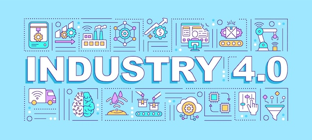 Bandeira de conceitos de palavra da indústria 4.0. conexão e endereçamento via iot. infográficos com ícones lineares sobre fundo azul. tipografia isolada. quatro revoluções. contorno rgb ilustração colorida