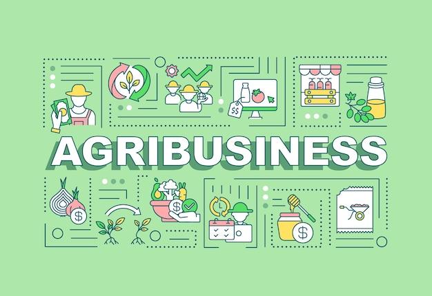 Bandeira de conceitos de palavra de agronegócio. produção agrícola. infográficos com ícones lineares no fundo da casa da moeda.