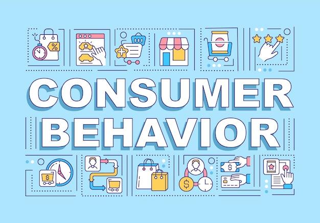 Bandeira de conceitos de palavra de comportamento do consumidor. análise de avaliações de clientes. infográficos