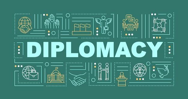 Bandeira de conceitos de palavra de diplomacia internacional. cooperação global. paz política. infográficos com ícones lineares sobre fundo verde. tipografia isolada. ilustração de cor rgb de contorno vetorial