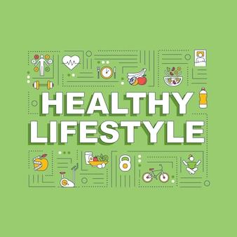 Bandeira de conceitos de palavra de estilo de vida saudável. nutrição consciente e exercícios esportivos. infográficos com ícones lineares sobre fundo verde. tipografia isolada. ilustração de cor rgb de contorno vetorial