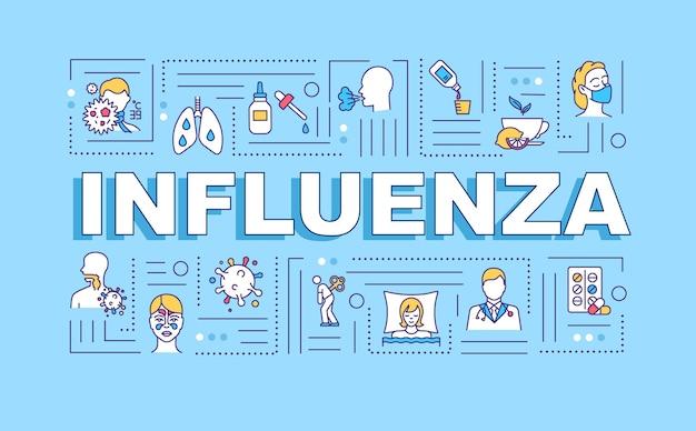 Bandeira de conceitos de palavra de gripe. dor no pulmão. dor no peito. medicina prescrita. infográficos com ícones lineares sobre fundo azul. tipografia isolada. ilustração de cor rgb de contorno vetorial