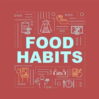 Bandeira de conceitos de palavra de hábitos alimentares ruins e saudáveis. nutrição, dieta e excessos. infográficos com ícones lineares sobre fundo vermelho. tipografia isolada. ilustração de cor rgb de contorno vetorial