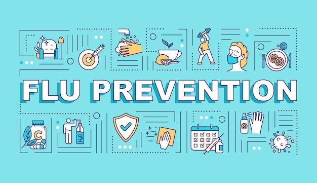 Bandeira de conceitos de palavra de prevenção da gripe. imunização com vitamina. tiro de vacinação. infográficos com ícones lineares em fundo turquesa. tipografia isolada. ilustração de cor rgb de contorno vetorial