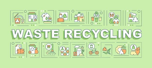 Bandeira de conceitos de palavra de reciclagem de resíduos. proteção ambiental. infográficos com ícones lineares sobre fundo verde. tipografia criativa isolada. ilustração de cor de contorno vetorial com texto