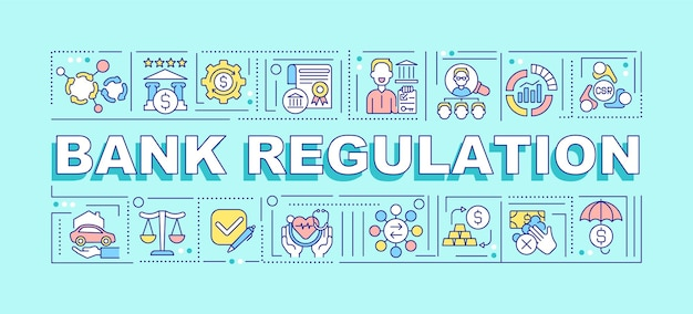 Bandeira de conceitos de palavra de regulamento de banco. transparência do mercado. infográficos com ícones lineares sobre fundo azul. tipografia criativa isolada. ilustração de cor de contorno vetorial com texto