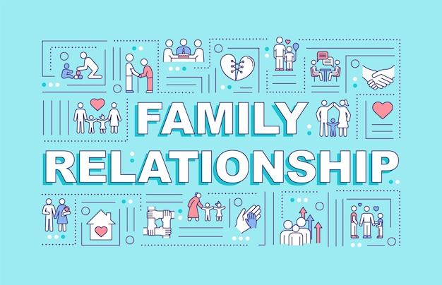 Bandeira de conceitos de palavra de relacionamento familiar. paternidade e desenvolvimento familiar. infográficos com ícones lineares em fundo turquesa. tipografia isolada. ilustração de cor rgb de contorno vetorial