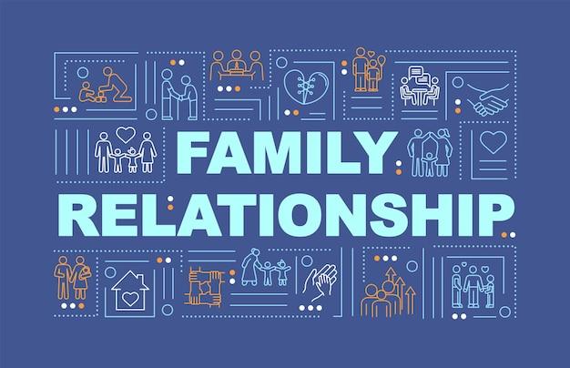 Bandeira de conceitos de palavra de relações familiares. ciclos de vida, estágios de desenvolvimento familiar. infográficos com ícones lineares sobre fundo azul. tipografia isolada. ilustração de cor rgb de contorno vetorial